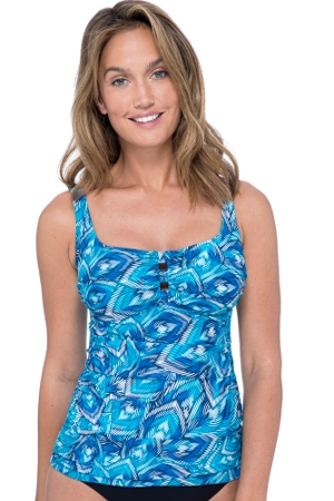 Profile by Gottex Birds of a Feather Scoop Neck Shirred Tankini Top