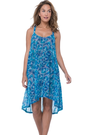 Profile by Gottex Birds of a Feather High Low X-Back Mesh Beach Dress Cover Up