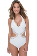 Profile by Gottex Shalimar Ivory Lace V-Neck Halter Cut Out One Piece Swimsuit