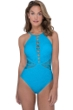 Profile by Gottex Shalimar Peacock Lace Strappy High Neck One Piece Swimsuit