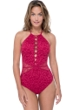Profile by Gottex Shalimar Ruby Lace High Neck One Piece Swimsuit