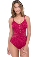 Profile by Gottex Shalimar Ruby Lace V-Neck Plunge One Piece Swimsuit