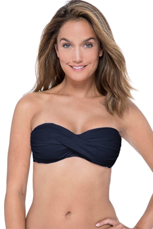 Profile by Gottex Tutti Frutti Black Bandeau Strapless Twist Front Bikini Top
