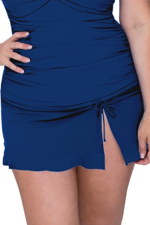 Profile by Gottex Tutti Frutti Petrol Plus Size Side Slit Cinch Swim Skirt