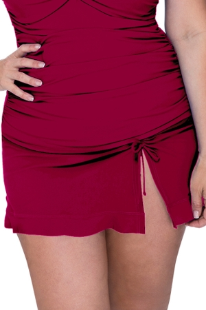 Profile by Gottex Tutti Frutti Ruby Plus Size Side Slit Cinch Swim Skirt