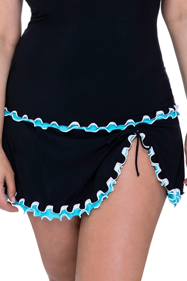 Profile by Gottex Tutti Frutti Black and Aqua Plus Size Side Slit Swim Skirt
