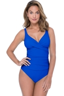 Profile by Gottex Tutti Frutti Sapphire V-Neck Cross Over Surplice One Piece Swimsuit