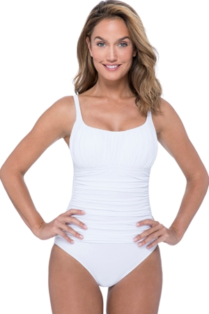 Profile by Gottex Tutti Frutti White Peasant Shirred One Piece Swimsuit
