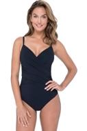 Profile by Gottex Tutti Frutti Black V-Neck Lingerie Surplice One Piece Swimsuit