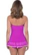 Profile by Gottex Tutti Frutti Warm Viola Bandeau Strapless Shirred Laser Cut Swimdress