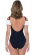 Profile by Gottex Tutti Frutti Black and White Color Block Off the Shoulder Ruffle One Piece Swimsuit