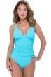 Profile by Gottex Tutti Frutti Aqua V-Neck Shirred One Piece Swimsuit