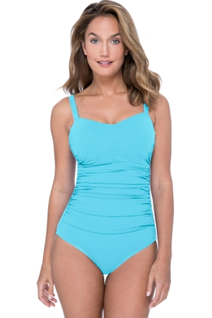 Profile by Gottex Tutti Frutti Aqua D-Cup Scoop Neck Shirred Underwire One Piece Swimsuit