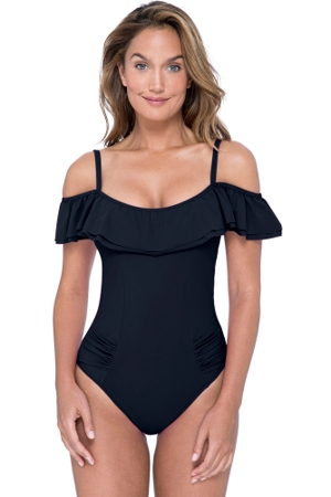 Profile by Gottex Tutti Frutti Black D-Cup Off the Shoulder Ruffle One Piece Swimsuit