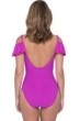 Profile by Gottex Tutti Frutti Warm Viola D-Cup Off the Shoulder Ruffle One Piece Swimsuit