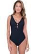 Profile by Gottex Tutti Frutti Black D-Cup Strappy V-Neck One Piece Swimsuit
