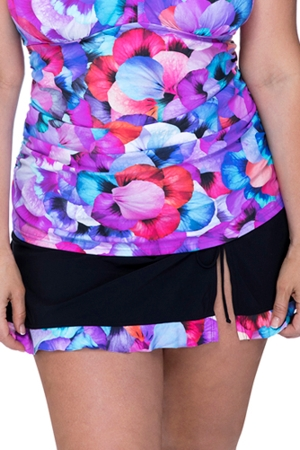 Profile by Gottex Pocket Full of Posies Plus Size Side Slit Cinch Swim Skirt