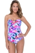 Profile by Gottex Pocket Full of Posies Shirred Front Bandeau Strapless One Piece Swimsuit