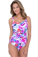 Profile by Gottex Pocket Full of Posies D-Cup Scoop Neck Shirred Underwire One Piece Swimsuit