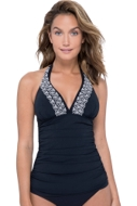 Profile by Gottex Love'n Lace Black V-Neck Halter Tankini Top