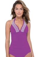 Profile by Gottex Love'n Lace Plum V-Neck Halter Tankini Top