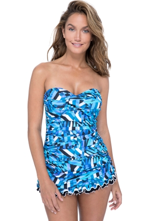 Profile by Gottex Tidal Wave Bandeau Strapless Shirred Swimdress