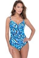 Profile by Gottex Tidal Wave V-Neck Lingerie Surplice One Piece Swimsuit