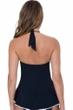 Profile by Gottex Belle Curve Black V-Neck Halter Peplum Tankini Top