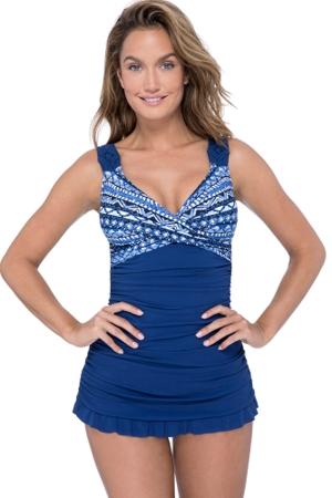 Profile by Gottex Folklore Petrol Blue Macrame V-Neck Swimdress