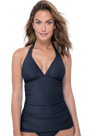 Profile by Gottex Ribbons Black V-Neck Halter Tankini Top