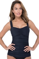Profile by Gottex Ribbons Black D-Cup Scoop Neck Shirred Underwire Tankini Top
