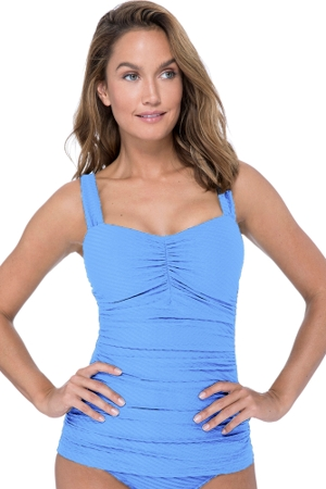 Profile by Gottex Ribbons Bondi Blue D-Cup Scoop Neck Shirred Underwire Tankini Top