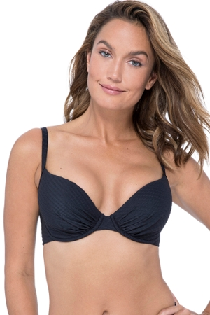 Profile by Gottex Ribbons Black D-Cup Push Up Underwire Bikini Top