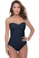 Profile by Gottex Ribbons Black Shirred Front Bandeau Strapless One Piece Swimsuit
