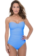 Profile by Gottex Ribbons Bondi Blue Shirred Front Bandeau Strapless One Piece Swimsuit