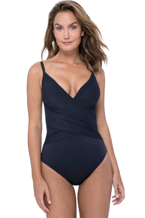Profile by Gottex Ribbons Black V-Neck Lingerie Surplice One Piece Swimsuit