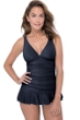 Profile by Gottex Ribbons Black D-Cup V-Neck Peplum One Piece Swimsuit