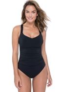 Profile by Gottex Fishnet Black Shirred One Piece Swimsuit