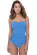 Profile by Gottex Fishnet Dusk Blue Macrame Shirred Front Bandeau Strapless One Piece Swimsuit