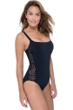 Profile by Gottex Fishnet Black D-Cup Macrame One Piece Swimsuit
