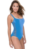 Profile by Gottex Fishnet Dusk Blue D-Cup Macrame One Piece Swimsuit
