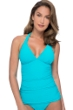 Profile by Gottex Ribbons Turquoise Textured V-Neck Halter Tankini Top