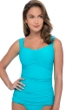 Profile by Gottex Ribbons Turquoise Textured E-Cup Scoop Neck Shirred Underwire Tankini Top