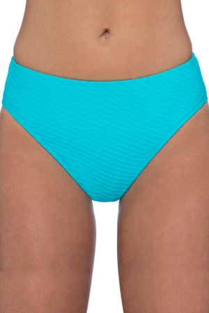 Profile by Gottex Ribbons Turquoise Textured Mid Rise Tankini Bottom