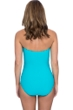 Profile by Gottex Ribbons Turquoise Textured Shirred Front Bandeau Strapless One Piece Swimsuit
