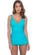 Profile by Gottex Ribbons Turquoise Textured D-Cup V-Neck Peplum One Piece Swimsuit