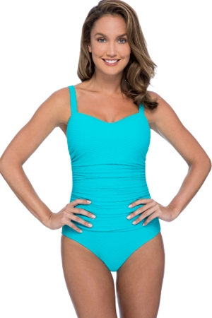 Profile by Gottex Ribbons Turquoise Textured D-Cup Scoop Neck Shirred Underwire One Piece Swimsuit