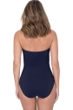 Profile by Gottex Moto Navy Shirred Front Bandeau Strapless One Piece Swimsuit