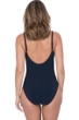 Profile by Gottex Moto Navy Side Shirred One Piece Swimsuit