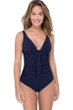 Profile by Gottex Moto Navy D-Cup V-Neck Plunge Shirred One Piece Swimsuit